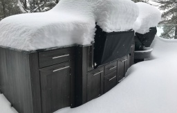Cottage deck outdoor cabinets snow winter Maskoka