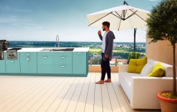 Contemporary Euro outdoor cabinets with grill and workstation seafoam